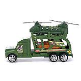 Грузовик инерционный «Военный автовоз» с техникой, МИКС, фото 2