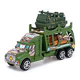 Грузовик инерционный «Военный автовоз» с техникой, МИКС, фото 5