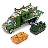 Грузовик инерционный «Военный автовоз» с техникой, МИКС, фото 6