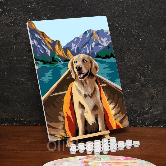 Картина по номерам на холсте с подрамником «Собака в лодке» 30х40 см