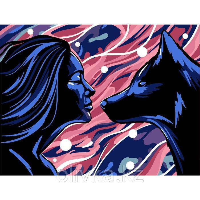 Картина по номерам на холсте с подрамником «Девушка и волк» 30х40 см