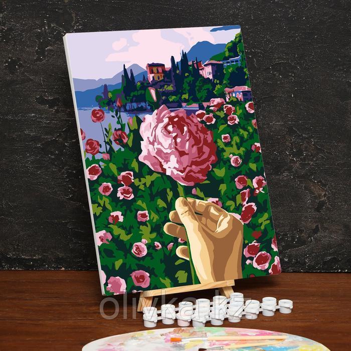 Картина по номерам на холсте с подрамником «Цветок в руке» 30х40 см