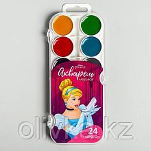 Акварель медовая «Золушка», 24 цвета, без кисти, Принцессы