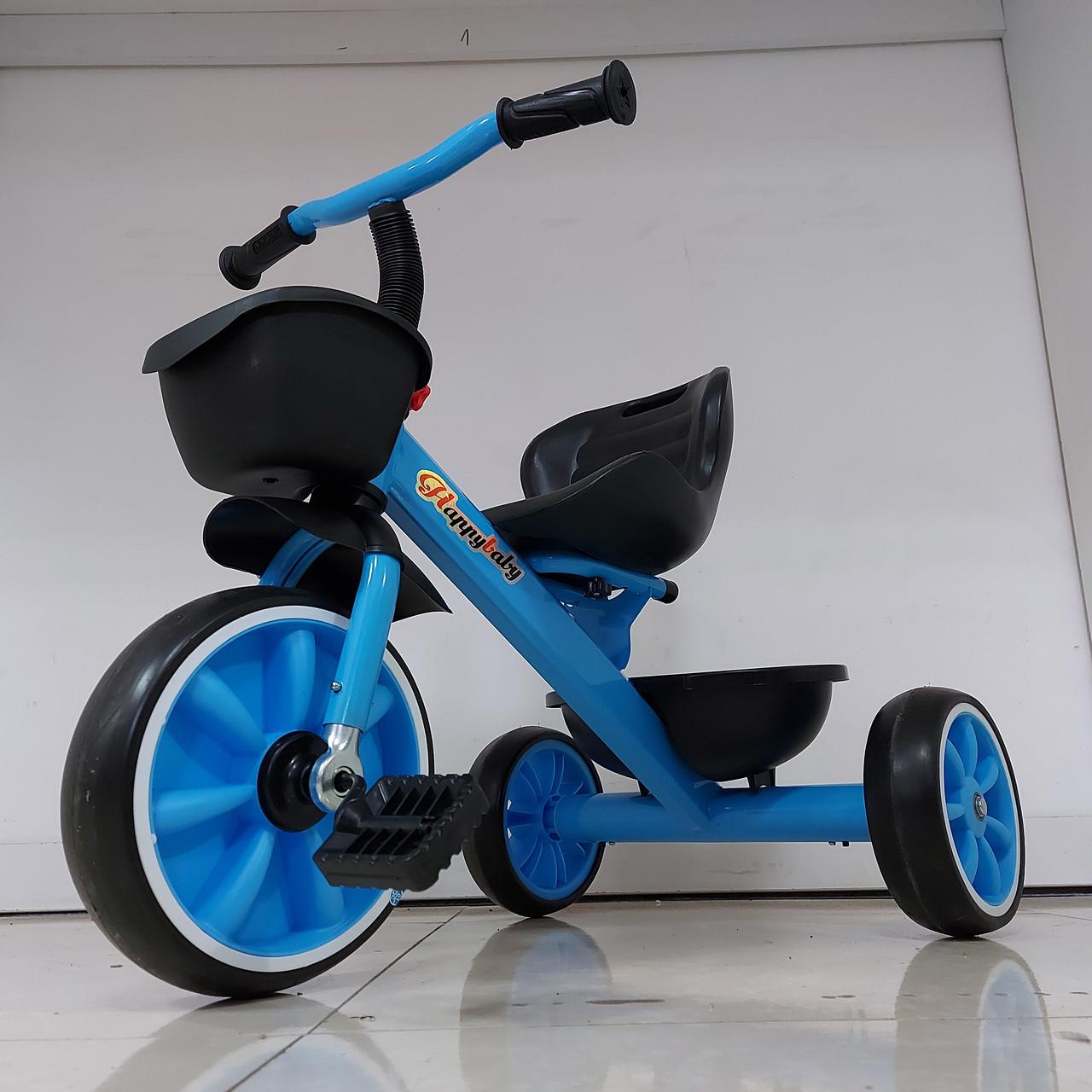 """Детский трехколесный велосипед """"Happy Baby"""" с корзинками. Kaspi RED. Рассрочка."""