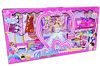 Упаковка помята!!! 5538 Кукла 12 платье, девочка на мопеде +трюмо и стул 68*35см, фото 1