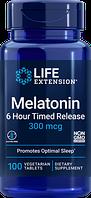 Life Extension, Мелатонин, 6-часовое высвобождение, 300 мкг, 100 растительных таблеток
