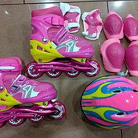 Комплект роликовых коньков с защитой и шлемом, каучуковые колеса, фото 1