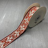 Лента декоративная жаккардовая с орнаментами 35 мм, N-06 красный