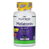Natrol, Мелатонин, быстрорастворимый, экстра сила, клубника, 5 мг, 150 таблеток