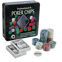 Покерный набор Poker Chips на 100 фишек с номиналом в мет. коробке
