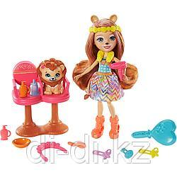 Mattel Enchantimals Лев Лейси и салон GTM29