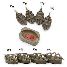 Набор флэд 4 кормушки, прес- форма для ловли карпа 15г-20г-25г-30г+форма