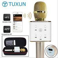 Караоке-микрофон беспроводной TUXUN Q7 со встроенной bluetooth-колонкой (Розовое золото)