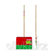 Лопата биметаллическая, 2 в 1 (лопата и лёгкий скребок), ковш 340 × 500 мм, деревянный черенок