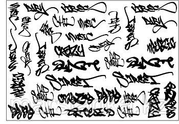 """Слайдер дизайн Moonshine Nails """"Черные граффити"""""""