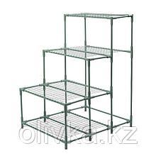 Стеллаж для рассады, 4 полки (сетка), 112 × 87 × 73 см, металлический каркас d = 16 мм, без чехла, разборный,