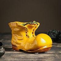 """Кашпо керамическое """"Ботинок с лягушкой желтый"""" 8*13*10 см"""