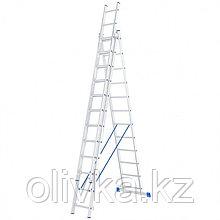 """Лестница шарнирная """"Сибртех"""" 97822, алюминиевая, трехсекционная, 3х12 ступеней"""