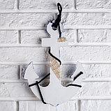 Якорь интерьерный с веревкой и звездой, бело-синий 5*23*32см, фото 4
