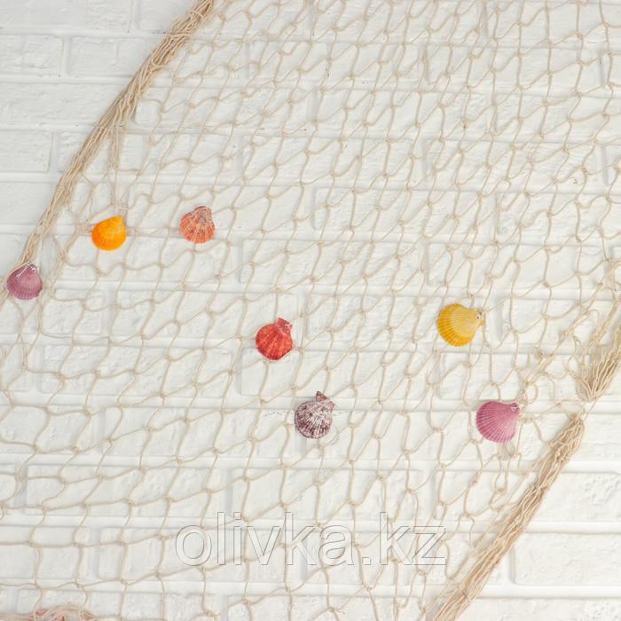 Сетка с ракушками и буйками, 110*150 см, белая