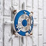 Декор интерьерный «Штурвал» на стену, бело-синий, 32 х 32 х 2 см, фото 2