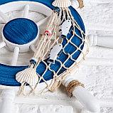 Декор интерьерный «Штурвал» на стену, бело-синий, 32 х 32 х 2 см, фото 3