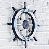 Декор интерьерный «Штурвал» на стену, бело-синий, 45 х 45 х 3 см, фото 2