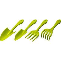 Набор садового инструмента, 4 предмета: грабельки, 2 совка, вилка посадочная, пластиковые ручки