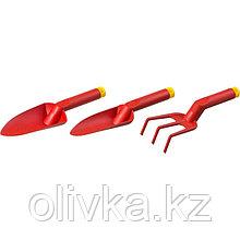 Набор садового инструмента, 3 предмета: рыхлитель, 2 совка, пластик, GRINDA