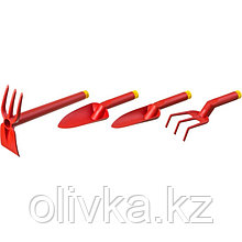 Набор садового инструмента, 4 предмета: рыхлитель, мотыжка, 2 совка, пластик, GRINDA
