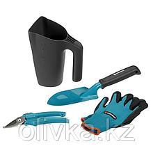 """Набор садового инструмента, 4 предмета: секатор 7.5"""" (19 см), лопатка 33.5 см, перчатки 8 размер, кувшин 1 л"""