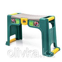 Скамейка-перевёртыш садовая, 58 × 24 × 30 см, макс. нагрузка 100 кг, зелёная