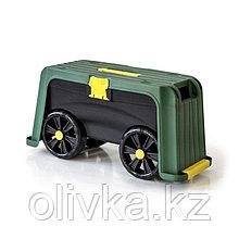 Скамейка-перевёртыш садовая, 58 × 24 × 30 см, с органайзером, максимальная нагрузка 100 кг, зелёная