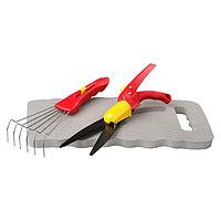 Набор, 3 предмета: ножницы для стрижки травы, подколенник, грабельки, GRINDA