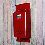 Ящик почтовый без замка (с петлёй), вертикальный, «Почта», бордовый, фото 3