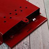 Ящик почтовый без замка (с петлёй), вертикальный, «Почта», бордовый, фото 4