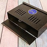 Ящик почтовый без замка (с петлёй), горизонтальный «Мини», бронзовый, фото 5