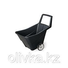 Тачка садовая, двухколёсная, 95 л, пластик, цвет чёрный