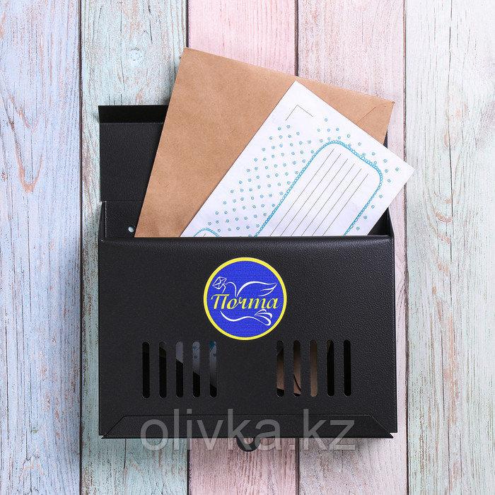 Ящик почтовый без замка (с петлёй), горизонтальный «Мини», чёрный