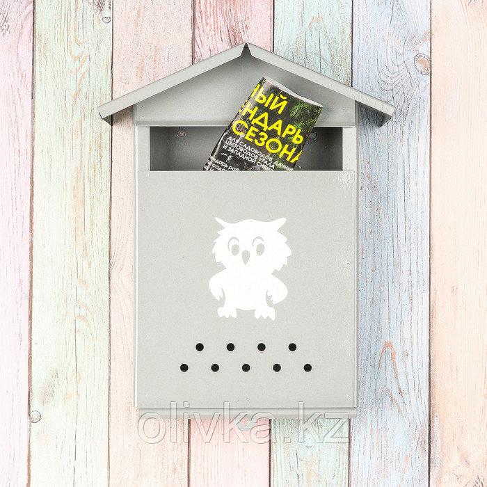 Ящик почтовый без замка (с петлёй), вертикальный, «Домик», серый