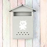 Ящик почтовый без замка (с петлёй), вертикальный, «Домик», серый, фото 2