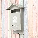 Ящик почтовый без замка (с петлёй), вертикальный, «Домик», серый, фото 3