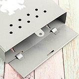 Ящик почтовый без замка (с петлёй), вертикальный, «Домик», серый, фото 4