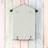 Ящик почтовый без замка (с петлёй), вертикальный, «Домик», серый, фото 5