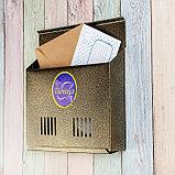 Ящик почтовый без замка (с петлёй), горизонтальный «Широкий», бронзовый, фото 2