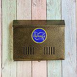 Ящик почтовый без замка (с петлёй), горизонтальный «Широкий», бронзовый, фото 3