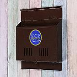Ящик почтовый без замка (с петлёй), горизонтальный «Широкий», коричневый, фото 3