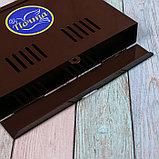 Ящик почтовый без замка (с петлёй), горизонтальный «Широкий», коричневый, фото 4