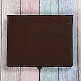 Ящик почтовый без замка (с петлёй), горизонтальный «Широкий», коричневый, фото 5