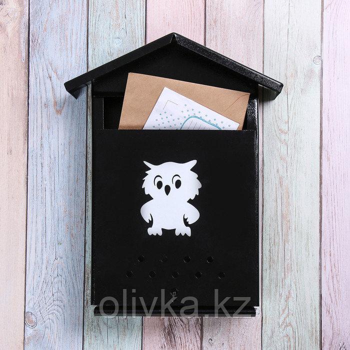 Ящик почтовый с щеколдой, вертикальный «Домик», чёрный